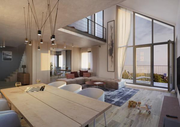 Przykładowe mieszkanie z antresolą w inwestycji Domy pod Koroną Allconu.