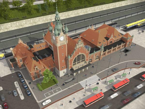 Wizualizacja nowego zagospodarowania terenu wokół Dworca Głównego PKP w Gdańsku.