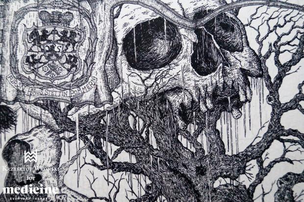 - Tworząc autorskie ilustracje inspiruję się przede wszystkim dawnym folklorem Pomorza i literaturą grozy - mówi grafik Krzysztof Wroński. Jego rysunki trafiły właśnie na koszulki firmy odzieżowej Medicine.