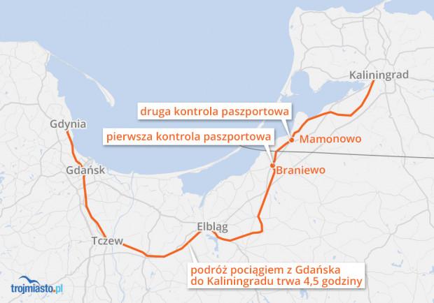 Trasa pociągu okazjonalnego z Kaliningradu do Trójmiasta.