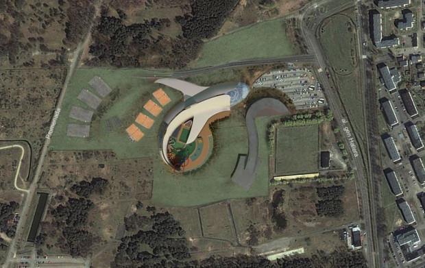 Tak prezentował się pomysł zagospodarowania terenu kompleksem wodno-sportowym przy al. Hallera w 2009 roku.