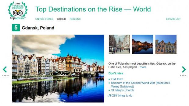 Piąte miejsce, najwyższe w Europie, zajął Gdańsk w rankingu miejsc o rosnącej popularności wśród użytkowników portalu podróżniczego TripAdvisor.