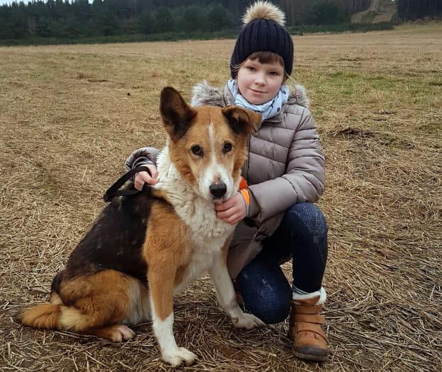 """Suka """"Łatka"""", nazwana w schronisku """"Mulinką"""", oraz 9-letnia Amelia z Gdańska. To właśnie dzięki zaangażowaniu dziewczynki i jej matki w pomoc pokrzywdzonym przez los zwierzakom, """"Łatka"""" wróciła do domu."""