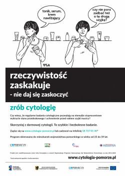 """Plakat promujący akcję """"Rzeczywistość zaskakuje. Nie daj się zaskoczyć - zrób cytologię"""". Autorką projektu jest Agnieszka Szczepaniak (PaplaLAla) - jedna z najbardziej znanych kobiet- rysowniczek w Polsce."""