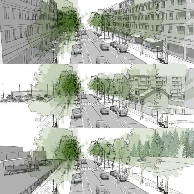 Trzy typy sąsiedztw, ta sama przykładowa ulica zbiorcza: A-sąsiedztwo silnie zurbanizowane, pierzeje; B-zurbanizowane luźniej; C-słabo zurbanizowane lub np. przemysłowe.