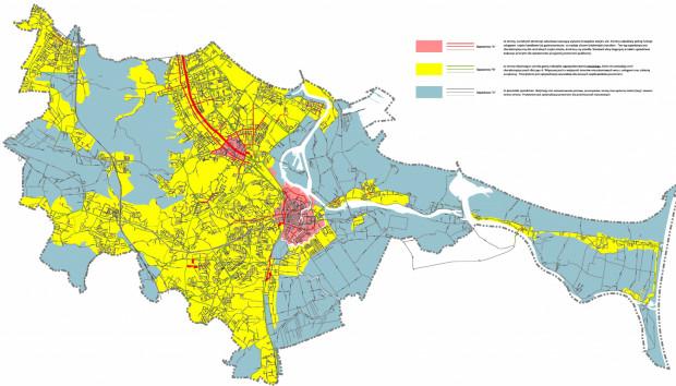 0 (czerwony)- Śródmieście, czyli Główne i Stare Miasto (wąskie ulice, historyczna zabudowa, pierzeje) A (czerwony) - Zabudowa tworzy wyraźne krawędzie wnętrz ulic, partery handlowo - usługowe B (żółty) - Tereny zagospodarowania miejskiego, zabudowa przerywana, bez ciągłości pierzei C (szary) - Tereny nisko zurbanizowane bez gęstej zabudowy