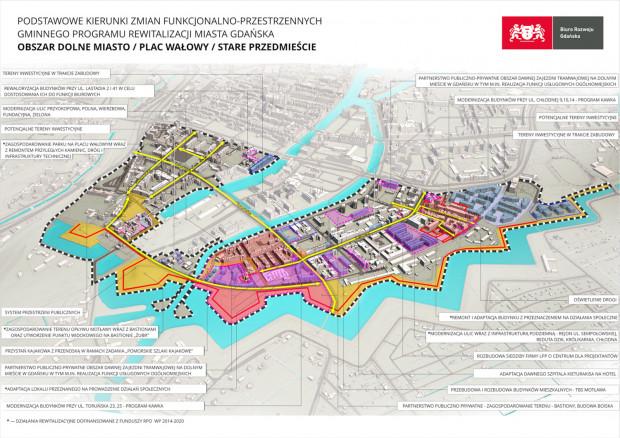 Obszar rewitalizacji Dolnego Miasta i najważniejsze zadania.
