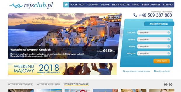 Strona internetowa biura podróży.