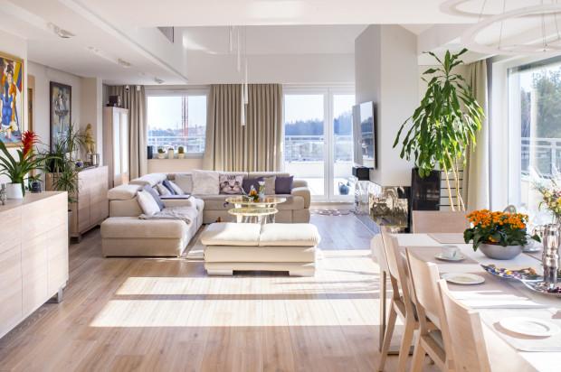 Salon odznacza się znacznie wyższym usytuowaniem sufitu, co dodaje wnętrzu przestronności.