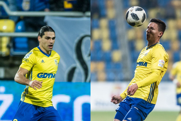 Dopiero po raz drugi w tym sezonie zdarzyło się, że w jednym meczu dwaj napastnicy Arki strzelili gola. Od lewej Ruben Jurado i Maciej Jankowski.