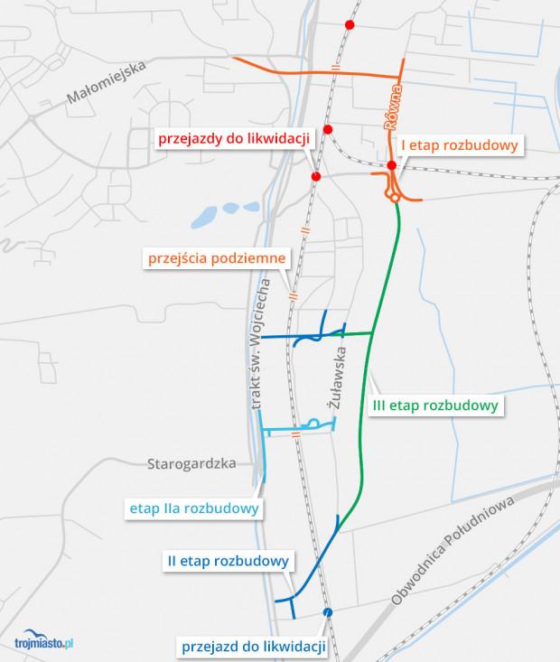 Plany rozbudowy bezkolizyjnych przejazdów i przejść na Oruni.