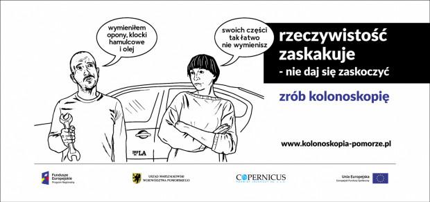"""Plakat promujący akcję """"Rzeczywistość zaskakuje. Nie daj się zaskoczyć - zrób kolonoskopię"""". Autorką projektu jest Agnieszka Szczepaniak (PaplaLAla) - jedna z najbardziej znanych kobiet- rysowniczek w Polsce."""