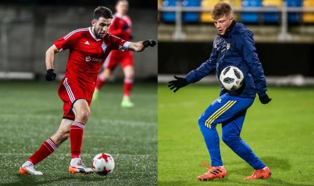 Na piłkarskie derby Gdyni w ligowym wydaniu na razie nie ma co liczyć, ale Michał Marczak (z lewej) i jego Bałtyk w ramach pucharowych rozgrywek, w środę zagrają z rezerwami Arki. Na zdjęciu z prawej Jan Łoś.