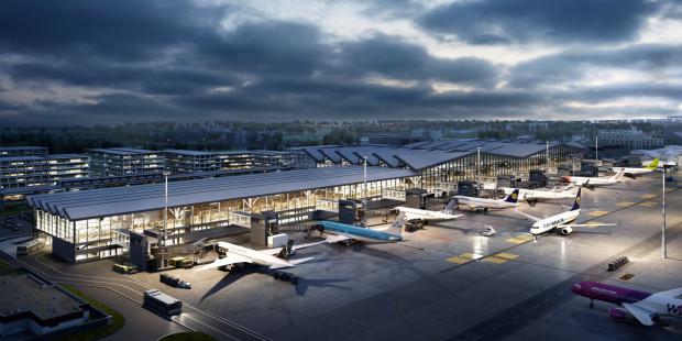 Ze względu na roszczenia i wypłatę odszkodowań budowa pirsu (na pierwszym planie) i AirPort City (w tle) może się opóźnić.