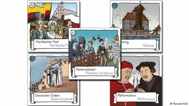 Szkice dwujęzycznych kart do gry Textura: polsko-niemieckie powiązania. W prawym, górnym rogu widoczny wizerunek jednej z najsłynniejszych budowli Gdańska - Żurawia.
