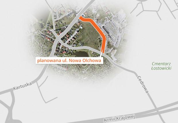 Przebieg ul. Nowej Olchowej w Gdańsku.