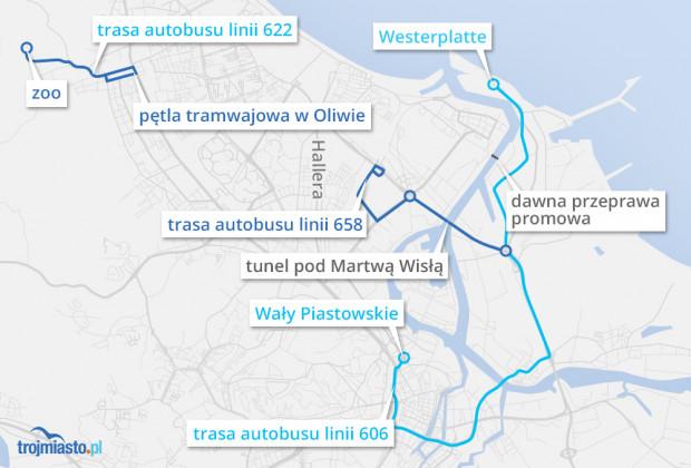 Schemat trzech sezonowych linii autobusowych, które uruchomione zostaną w sobotę 21 kwietnia. Sezonowa linia rowerowa 658 zastępuje dawną258, która była początkowo planowana jako całoroczna.