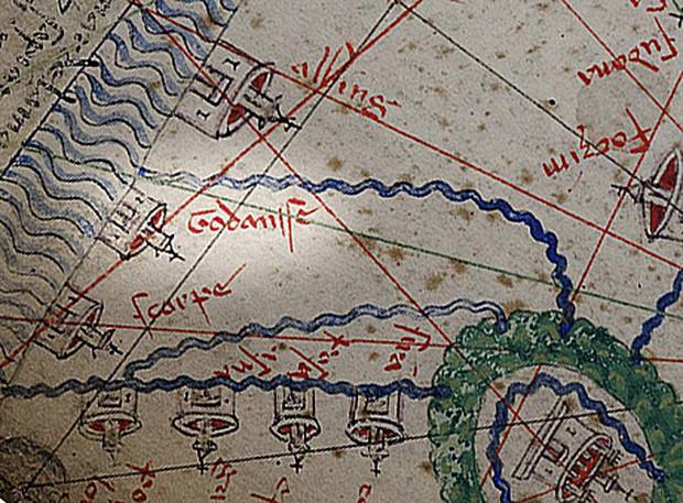 W Atlasie Katalońskim z 1375 roku Gdańsk jest oznaczony jako 'Godansc'.