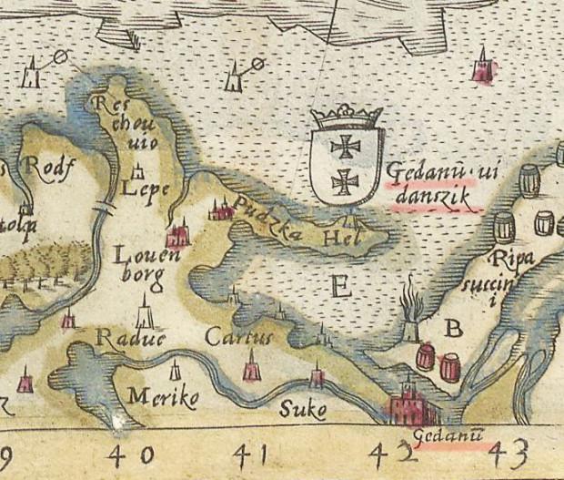 """W 1539 roku została wydana """"Carta Marina"""" Olafa Magnussona, na której znajdują się nazwy 'Gedanu' oraz 'Danszik'."""