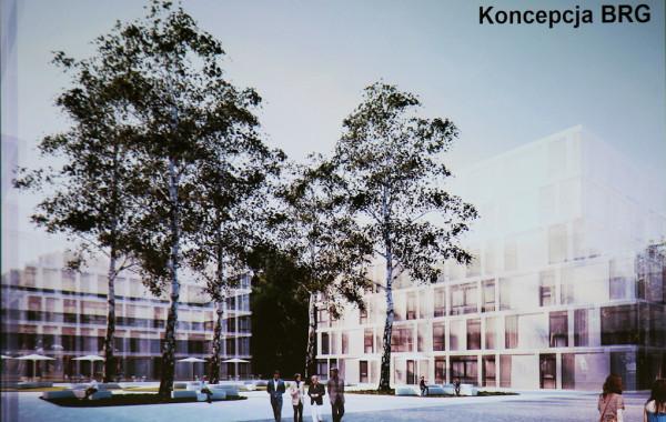 Możliwa forma zagospodarowania przestrzeni między budynkami nowej zabudowy.