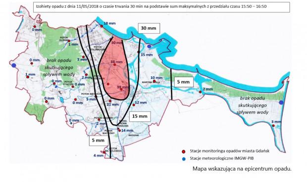 Epicentrum opadów w Gdańsku