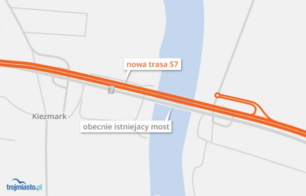 Nowa trasa w Kiezmarku pobiegnie nowym śladem. Istniejący most będzie obsługiwał ruch lokalny.