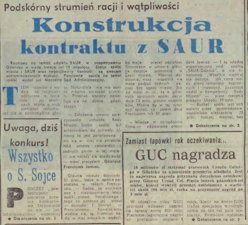 Dyskusja w Dzienniku Bałtyckim na temat przejęcia przez Saur Neptun gdańskiej infrastruktury wodociągowej i kanalizacyjnej.