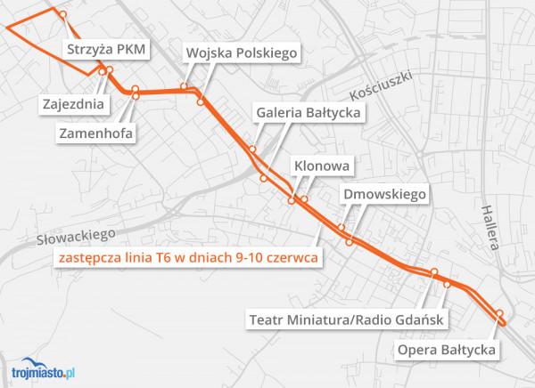 Trasa zastępczej linii T6, jaka będzie funkcjonować w sobotę i niedzielę we Wrzeszczu.