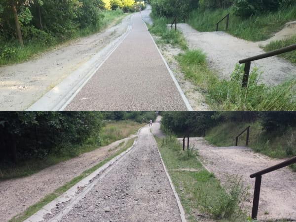 Droga rowerowa przez Park Kolibki po i przed naprawą.