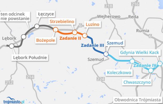 Przebieg Trasy Kaszubskiej. Odcinki z Gdyni do Bożegopola Wielkiego mają już wykonawców. Odcinek do Lęborka na razie nie powstanie.