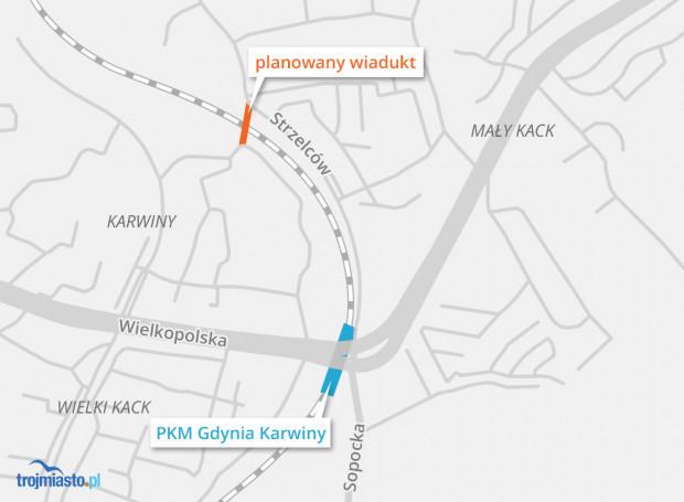 Planowana lokalizacja wiaduktu na Karwinach.