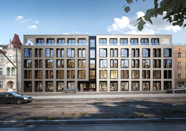 Piąte piętro budynku Officyna przy al. Grunwaldzkiej we Wrzeszczu będzie cofnięte w stosunku do elewacji. Dzięki temu na jego wysokości powstanie taras widokowy.
