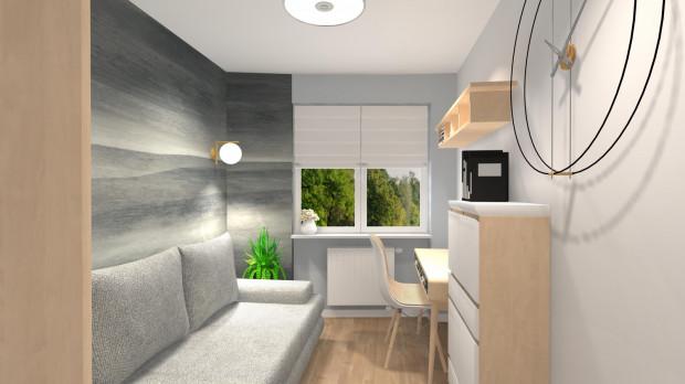 Pierwsza koncepcja zakłada wyeksponowany na ścianach kolorystyczny podział pomieszczenia na dwie strefy: sypialnianą i do pracy.