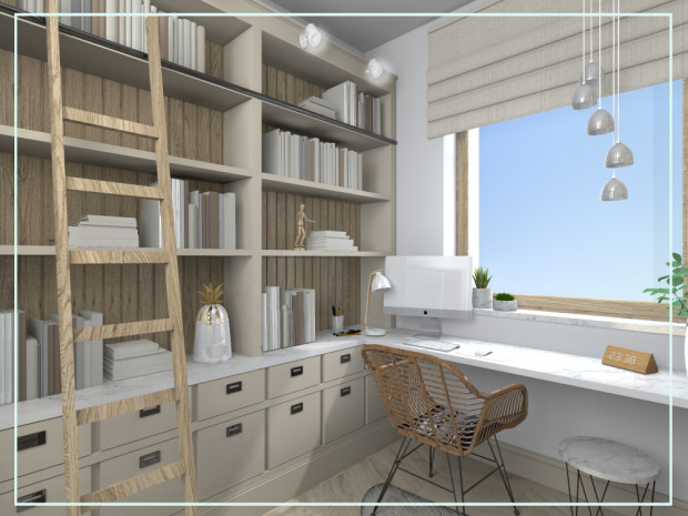 Pierwsza propozycja zakłada zachowanie stonowanej kolorystyki i połączenie domowej biblioteczki z miejscem do pracy oraz częścią garderobianą.