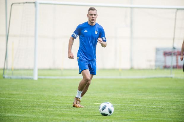 Adrian Klimczak był jednym z najaktywniejszych piłkarzy Arki w pierwszej połowie meczu z AFE.