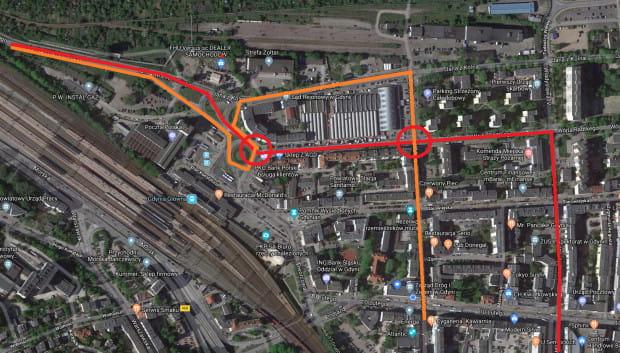 Główne ścieżki dojazdu i wyjazdu ze Śródmieścia w kierunku Janka Wiśniewskiego - zmieniona organizacja ruchu.