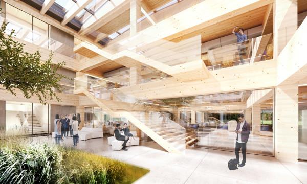 Wewnątrz atrium przewidziana została zieleń, w tym spore drzewo, które będzie rosnąć pod częściowym przeszkleniem dachu.