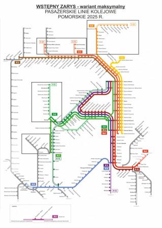Wstępna wizja pasażerskich linii kolejowych na Pomorzu w roku 2025. Wariant maksymalny.
