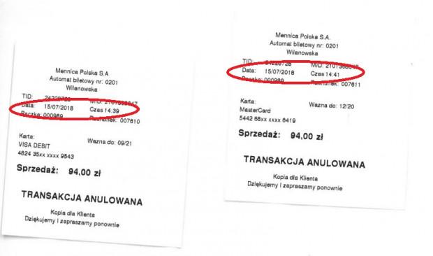 Anulowane potwierdzenia transakcji. Pierwsze z godz. 14:39, drugie - dwie minuty później.
