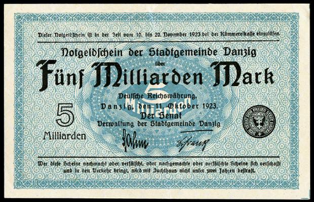 W listopadzie 1923 roku w Gdańsku wyemitowano banknot o nominale 5 miliardów marek.