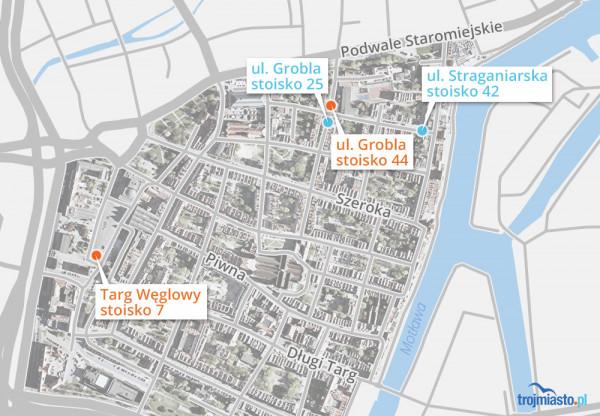 Na mapce zaznaczono lokalizacje czterech wyróżnionych stoisk.