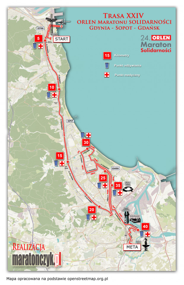 Trasa XXIV Orlen Maratonu Solidarności