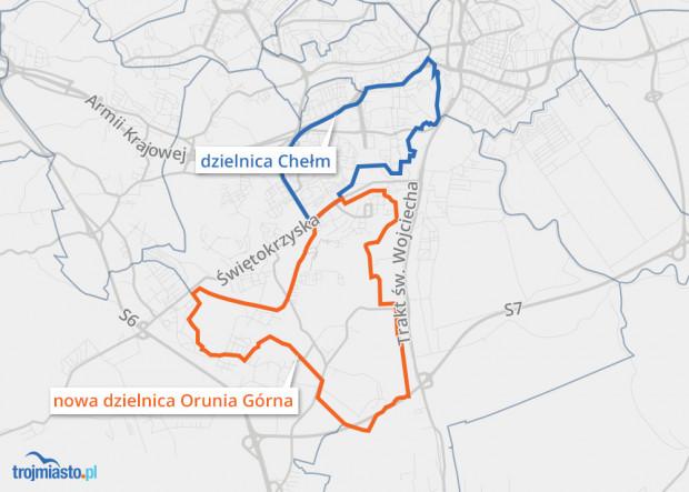 Z dzielnicy Chełm ma zostać wyodrębniona nowa dzielnica: Orunia Górna.