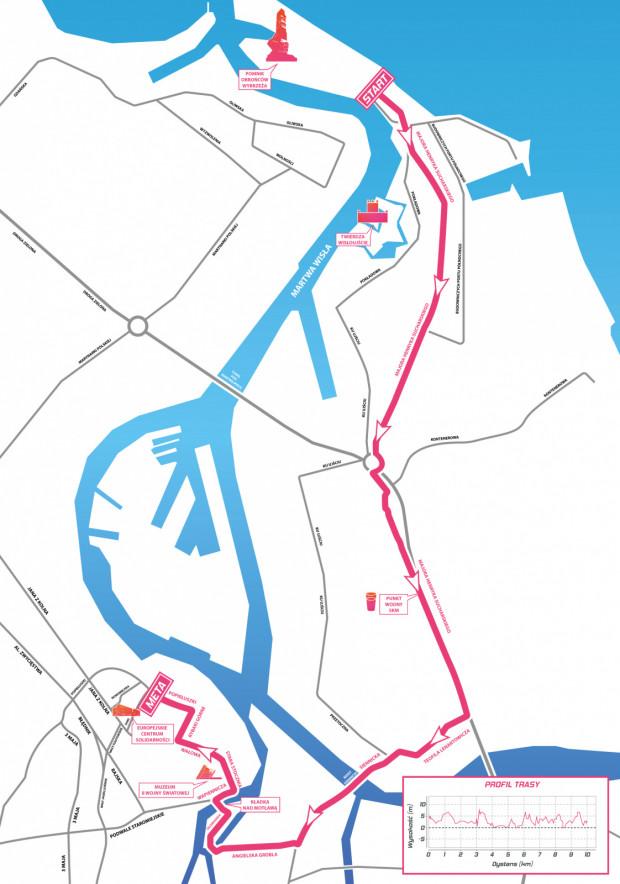Trasa niedzielnego Biegu Westerplatte.