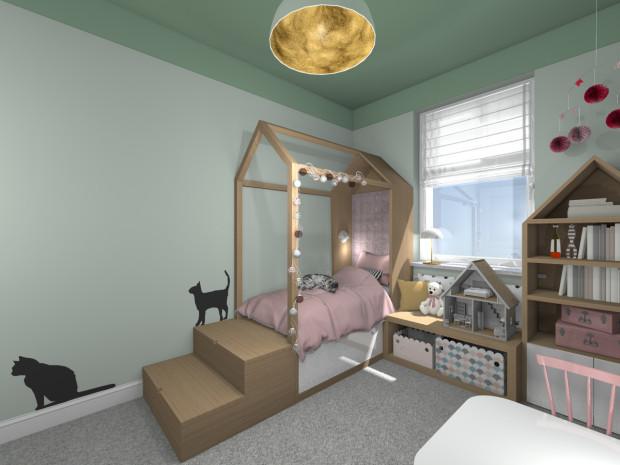 Koncepcja pierwsza. Konstrukcja łóżka uwzględnia szuflady, które są dodatkowym miejscem do przechowywania.