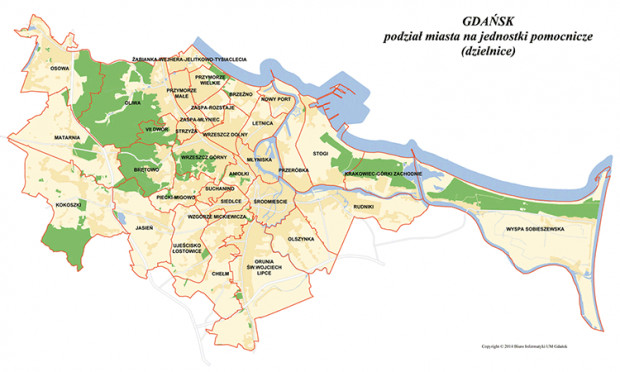 Podział administracyjny Gdańska. Mapa nie uwzględnia jeszcze najmłodszej dzielnicy - Oruni Górnej.