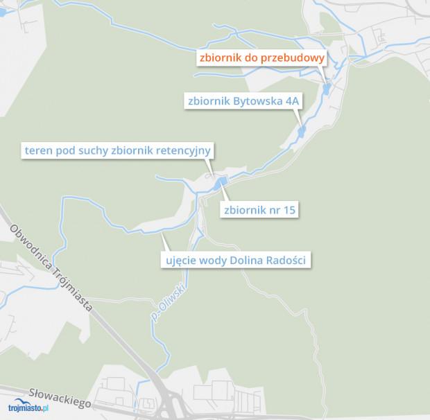 Zbiornik retencyjny do przebudowy i planowane miejsce suchego zbiornika retencyjnego w Dolinie Radości.