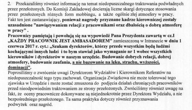 Fragment pisma związkowców z Solidarności do władz Gdańska.