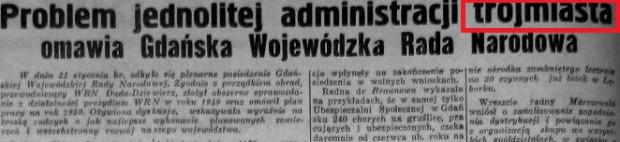 """Fragment artykułu z """"Dziennika Bałtyckiego"""" z 1 lutego 1950 r. To pierwszy odnaleziony przez autora przykład użycia nazwy Trójmiasto na określenie Gdyni, Sopotu i Gdańska."""