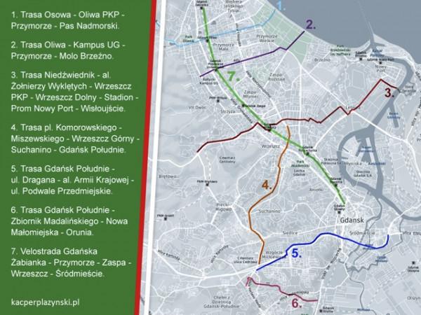 Lista nowych i uzupełnionych tras rowerowych, planowanych dla Gdańska przez komitet wyborczy Prawo i Sprawiedliwość.
